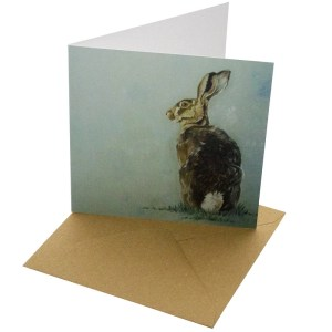 Re-wrapped: ECO Friendly Birthday Wrapping Paper Oil Hare Greetings Card by Sophie Botsford made from 100% Unbleached Recycled Card
