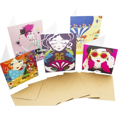 Re-wrapped: ECO Friendly Birthday Wrapping Paper Funky Large Pack Greetings Card by Vicky Scott made from 100% Unbleached Recycled Card