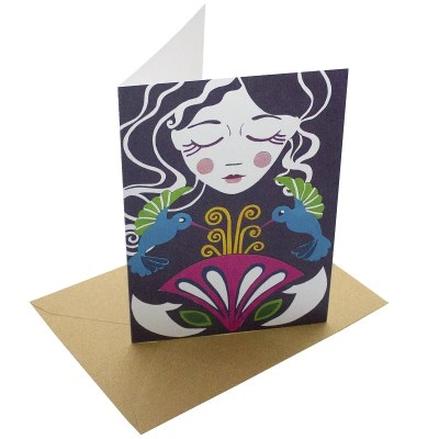 Re-wrapped: ECO Friendly Birthday Wrapping Paper Girl and Hummingbirds Greetings Card by Vicky Scott made from 100% Unbleached Recycled Card