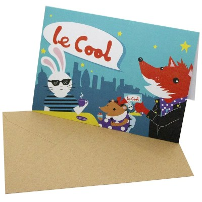 Re-wrapped: ECO Friendly Birthday Wrapping Paper Le Cool Greetings Card by Vicky Scott made from 100% Unbleached Recycled Card