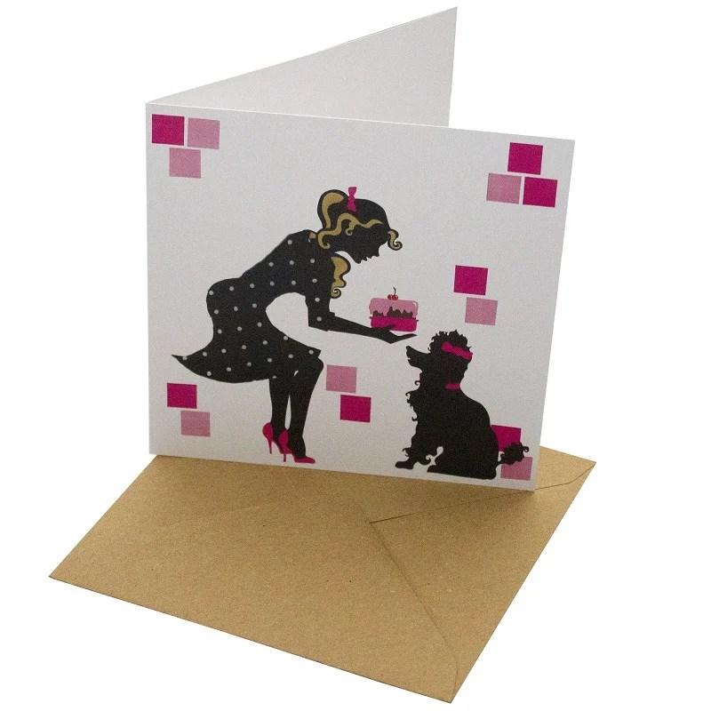 Re-wrapped: ECO Friendly Birthday Wrapping Paper Poodle Greetings Card by Vicky Scott made from 100% Unbleached Recycled Card