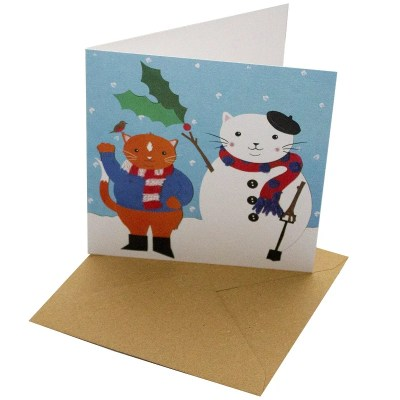 Re-wrapped: ECO Friendly Xmas Wrapping Paper Christmas Cat and Snowman Greetings Card by Vicky Scott made from 100% Unbleached Recycled Card