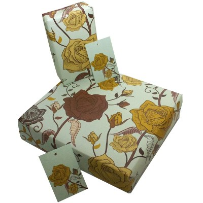 Re-wrapped: ECO Friendly Wrapping Paper Roses by Rosie Parkinson made from 100% Unbleached Recycled Paper