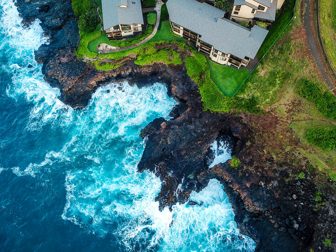 Aerial views of the lush Kauai coastline during the AM high tide using a DJI Mavic Pro.
