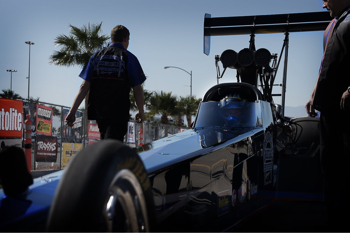 Pat Dakin waits in the staging lanes in his Top Fuel Dragster prior to making a qualifying pass in Las Vegas, Nevada.