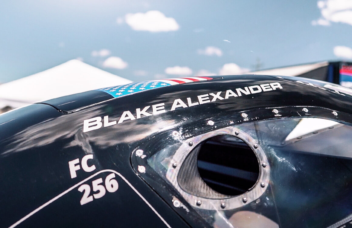 Blake Alexander's name adorns the top of his Ford Mustang nitro funny car.