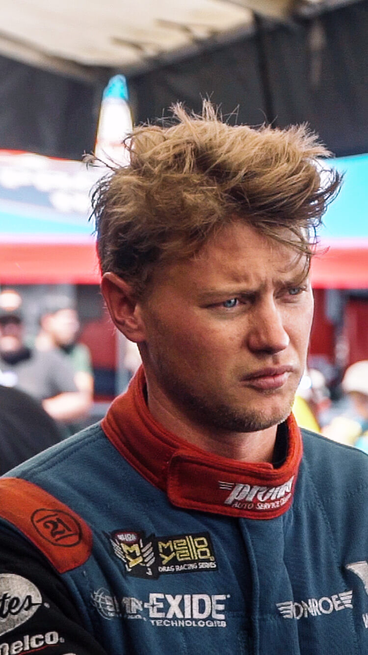 Blake Alexander stares off into the distance after a vicious explosion at the 2019 Summit Racing equipment NHRA Nationals.