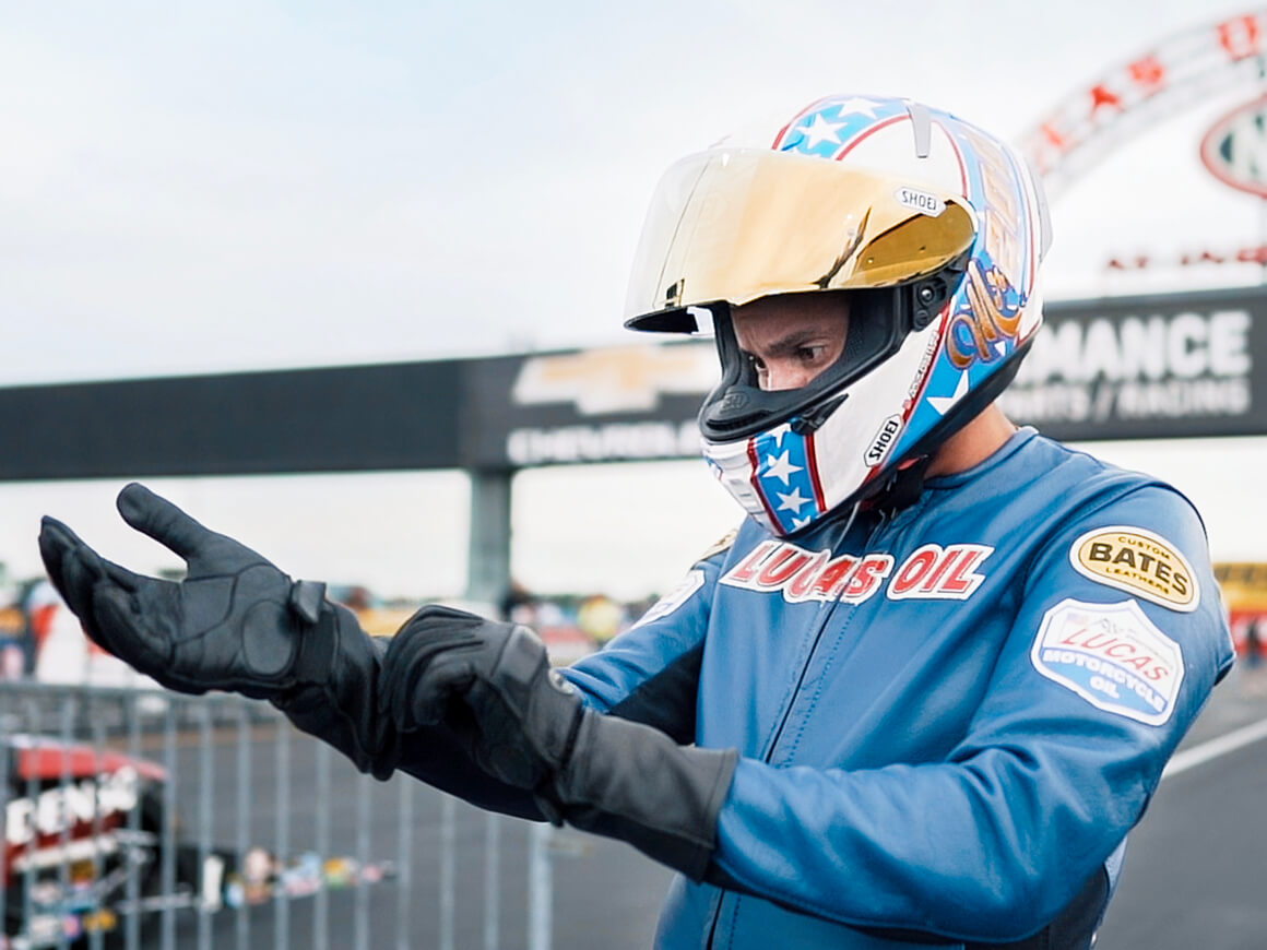 Hector Arana Jr. suits up prior to making his first qualifying pass at the 2019 NHRA U.S. Nationals.
