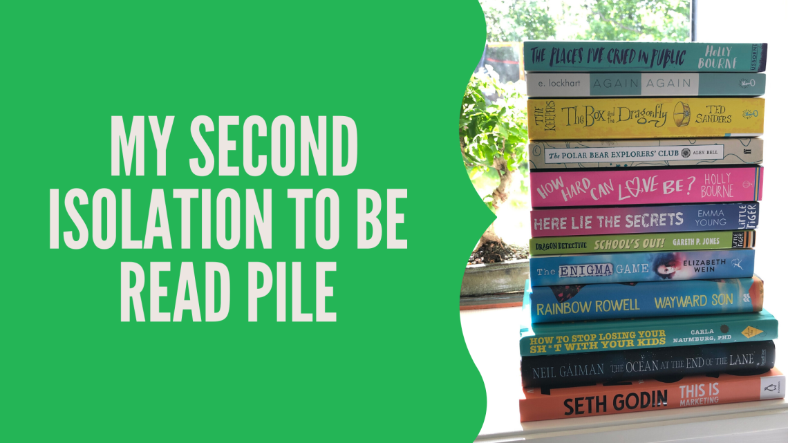 blog graphic with post title and I'm age of the books to be read, mentioned within the post, stacked in front of a bonsai tree