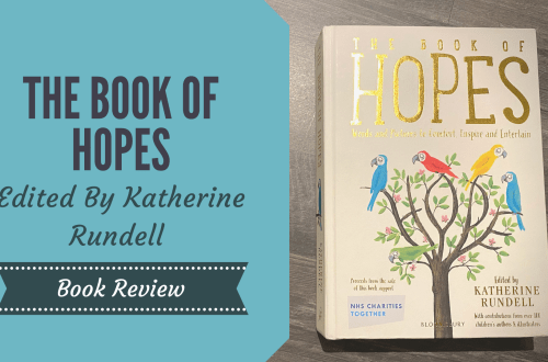 The Book of Hopes on wooden background with blog title written in a blue box