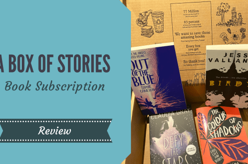 A Box of Stories book subscription box open showing four young adult books and blog title graphic