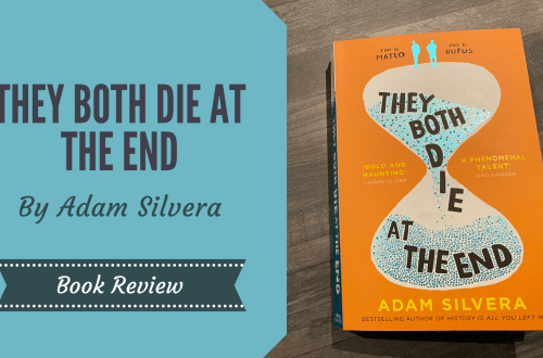 They Both Die at The End by Adam Silvera, a book with an orange cover showing a hourglass with two boys stood atop the hourglass