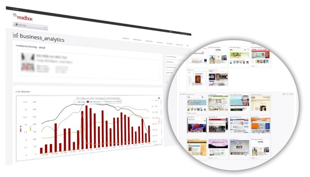 Embedded in the Business Analytics package of your my.readbox platform, this feature helps you to quickly and directly recognize any connections between media presence and daily sales figures. That also enables you to identify valuable multipliers and gives you a head start in winning them over.