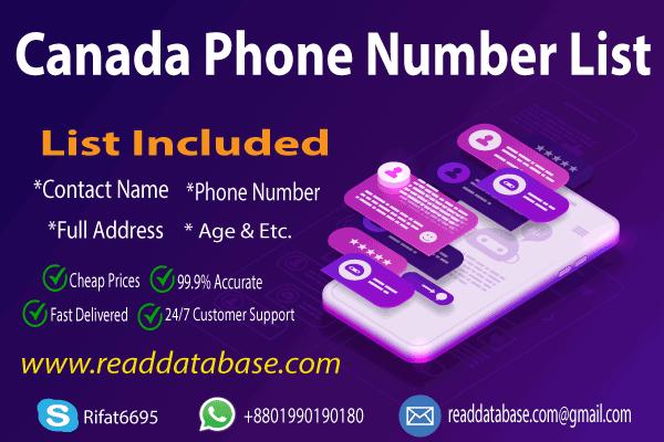 Canadian Phone Number Database