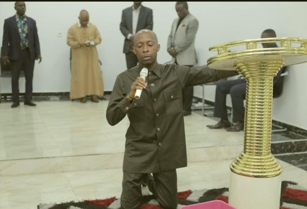 Speaker Luke worshiping God at Ebenezer Chapel, Ikot Etopo