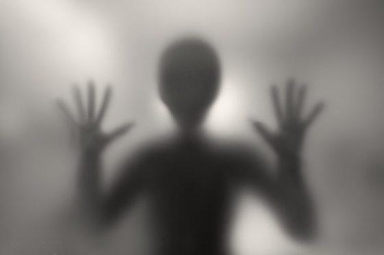 Alien behind a matte glass. Blurred image.