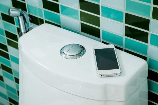 Smartphone on toilet