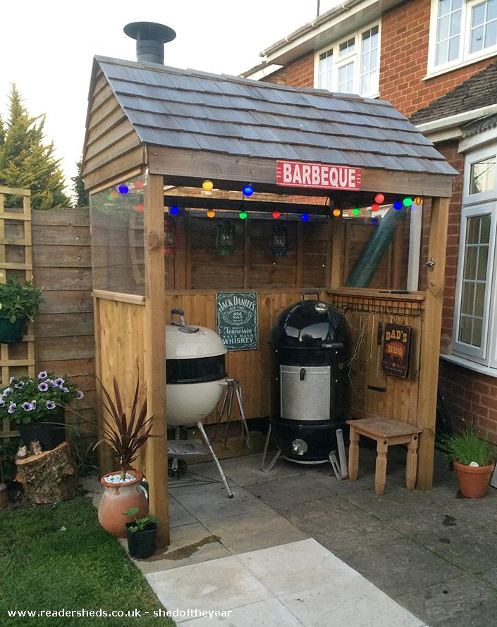 bbq shack unexpected from backyard patio owned by stuart