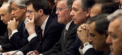 Chief executive officers from eight of the largest US banks receiving government aid testify at a House Financial Services Committee hearing in Washington, DC, 02/11/09 (photo: Brendan Smialowski/Bloomberg)