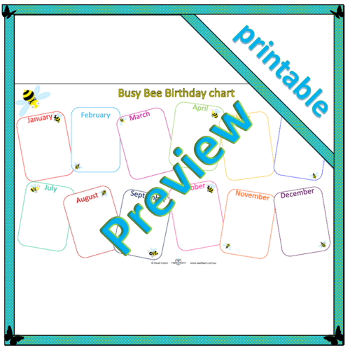 Busy Bee Birthday chart