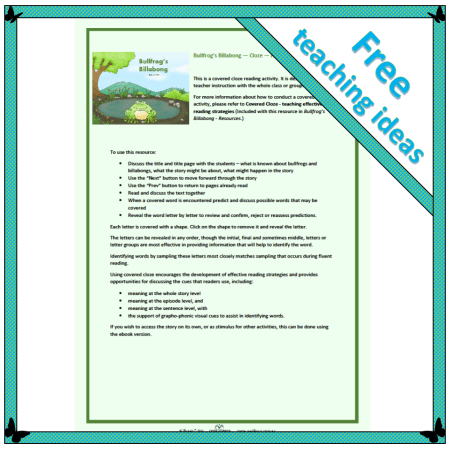 Teaching effective reading strategies using Bullfrog's Billabong covered cloze reading activity