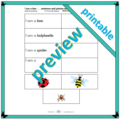 Busy Bees Little Readers – I am a bee: activity
