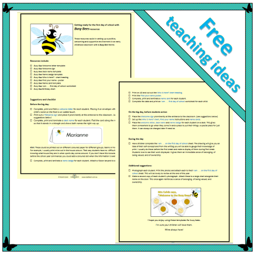 Getting ready for the first day with Busy Bee resources