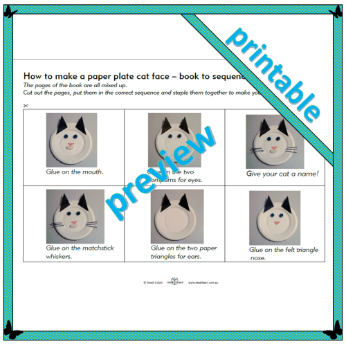 How to make a paper plate cat face – Level 2 – Book to sequence