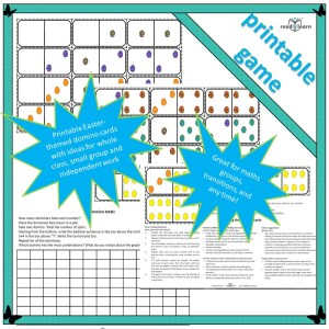 Easter themed dominoes for maths work learning about number addition turnarounds and subitising