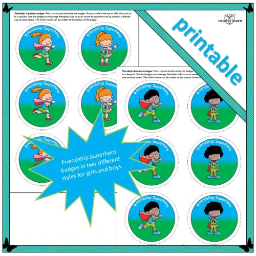printable badges that can be used as incentives or rewards for displaying good friendship skills