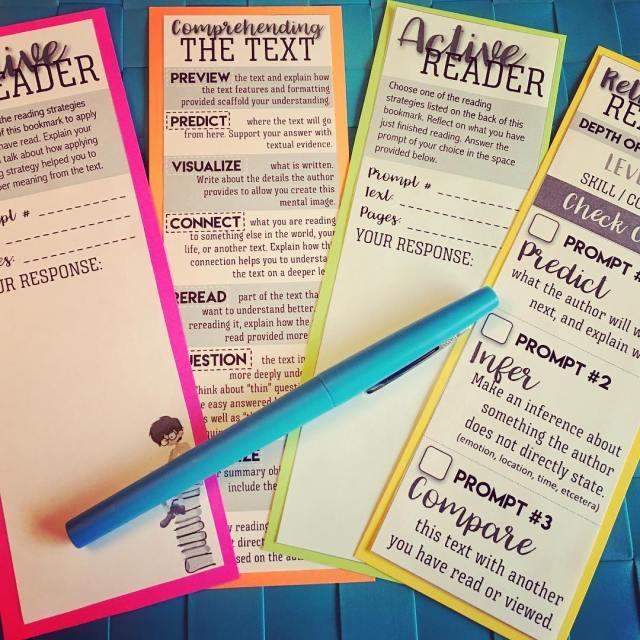 Reading comprehension bookmarks make great quick checks for my strugglinghellip