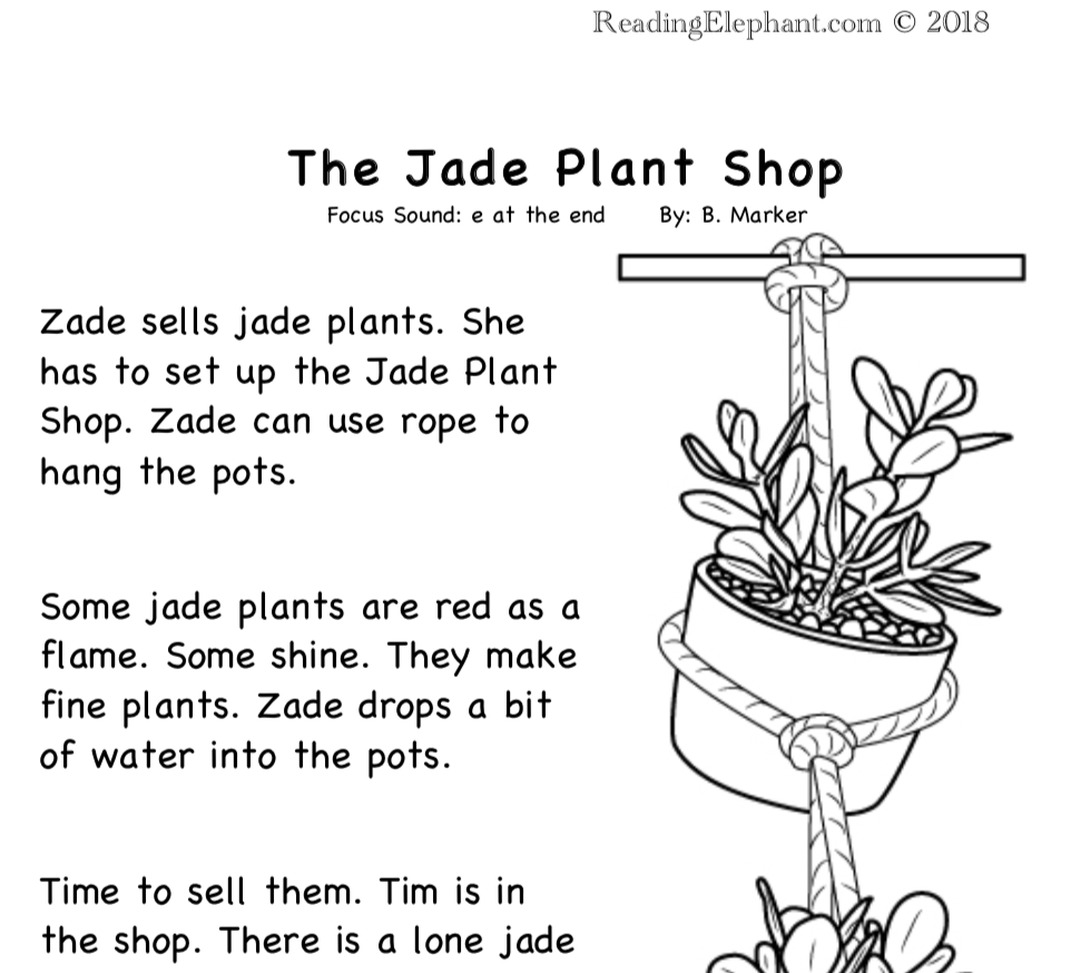 hight resolution of Silent e Stories- The Jade Plant (FREE) - Reading Elephant
