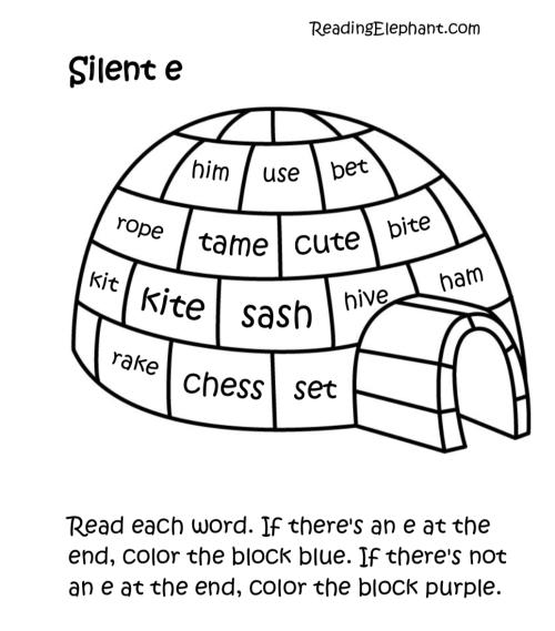small resolution of Silent e Worksheets pdf (Igloo Fun!) - Reading Elephant