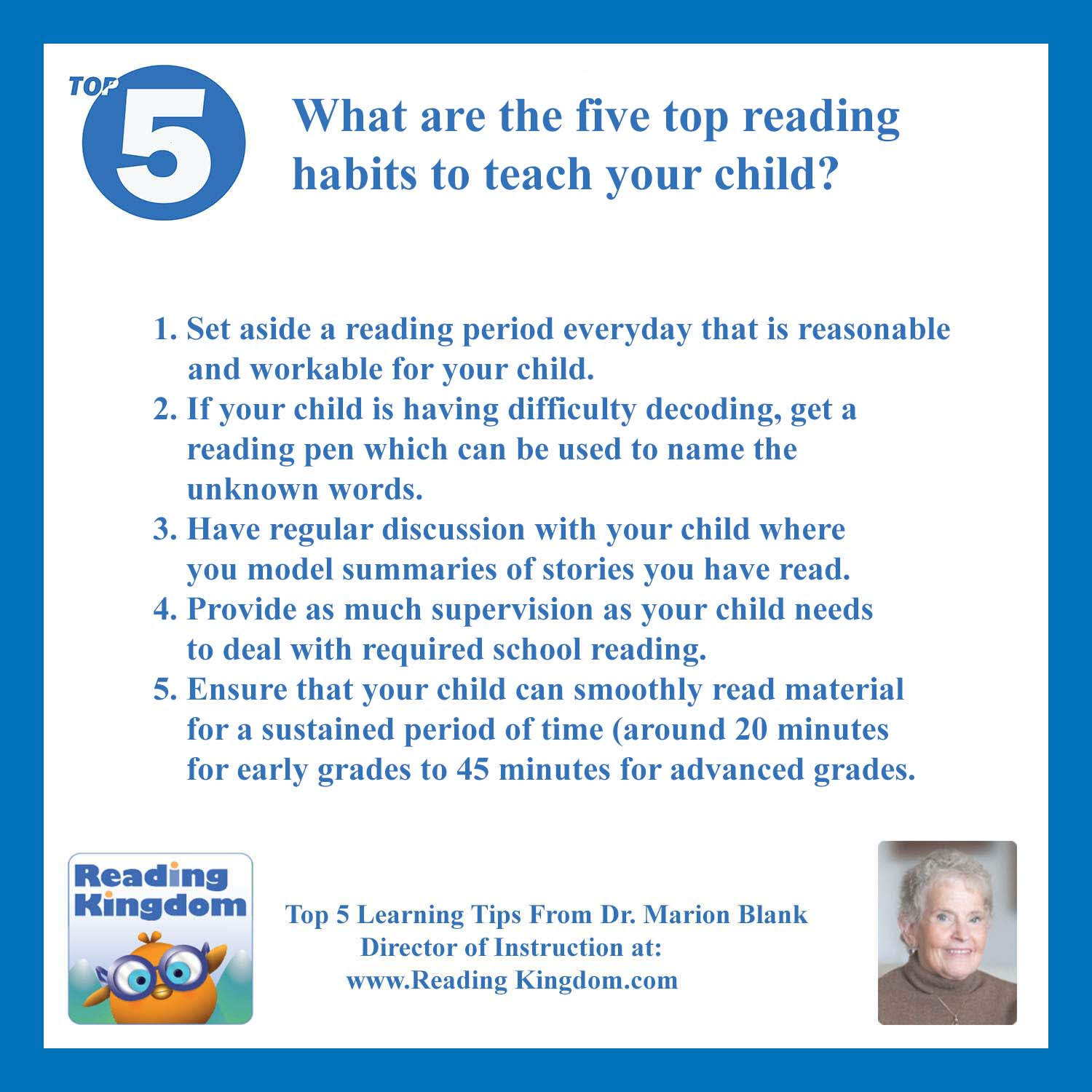 Ask Dr Blank What Are The Five Top Reading Habits To