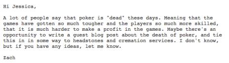Headstone company poker marketing email 2