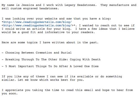 Headstone company poker marketing email