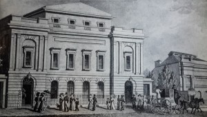 The music hall, looking like an illustration from Jane Austen