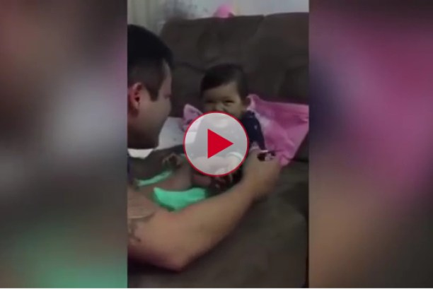 Tiny Baby Learns How To Prank Her Own Dad