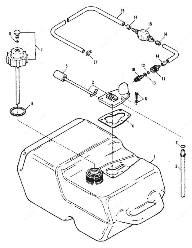Mercury Force 150 H.P. 1992-1994, Fuel Tank 89A Thru 92C
