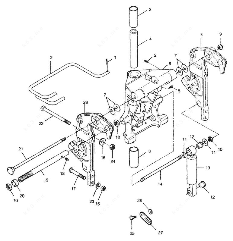 Mercury Force 90 H.P. 1991, Swivel Bracket and Stern