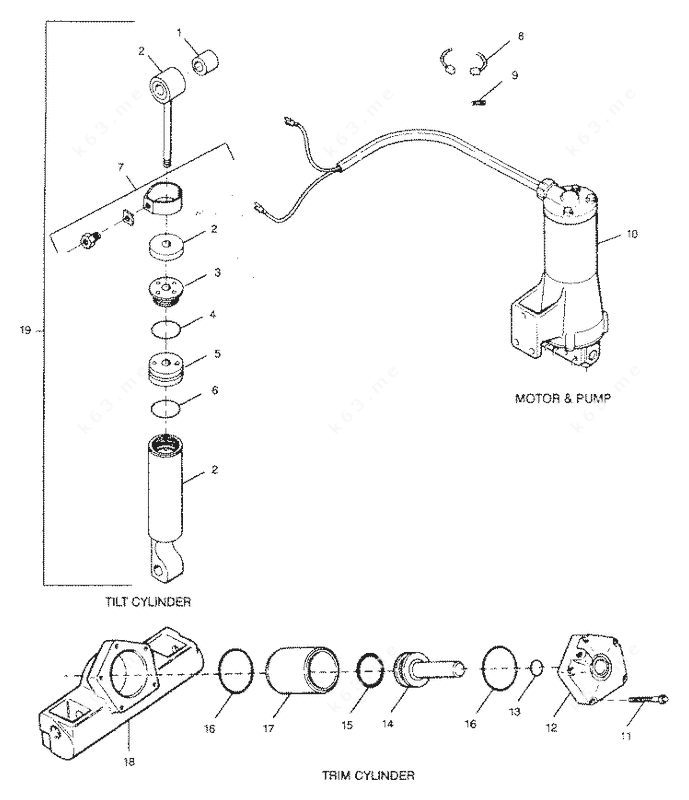 Mercury Force 90 H.P. 1991, Tilt & Trim Cylinders Motor