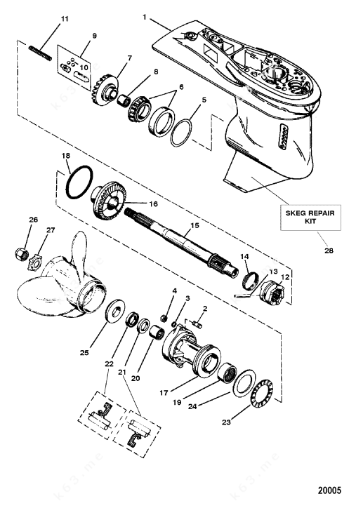 Mercury Force 90 H.P. 1996, Gear Housing Assembly