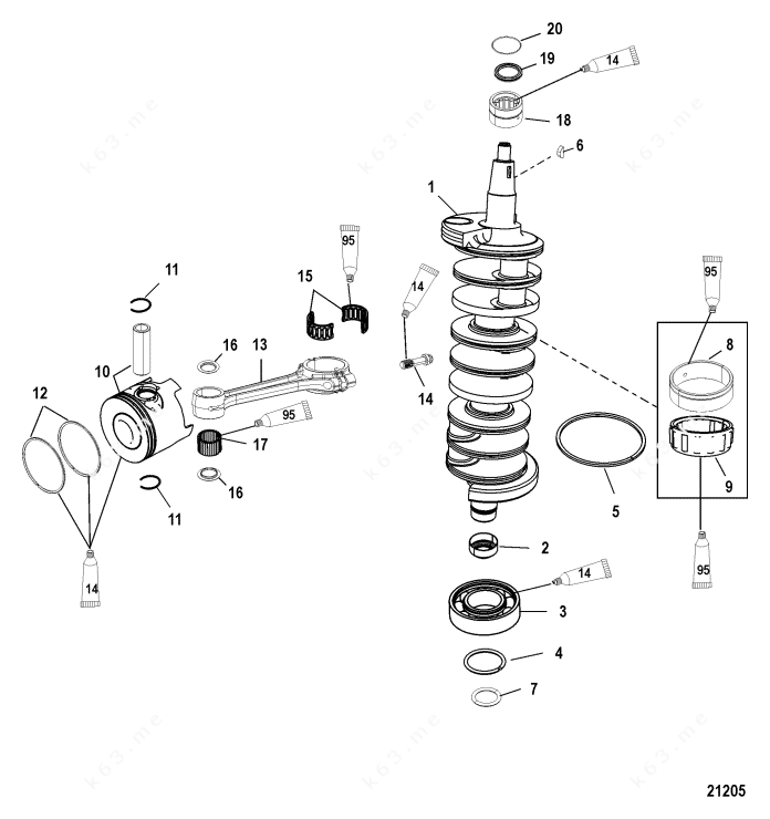 Mercury/Mariner 225 DFI 3.0l, Crankshaft, Pistons and