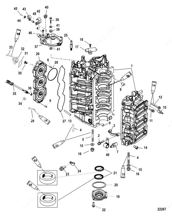 Mercury Hi-Performance 300xs 3.2l DFI, Cylinder Block and