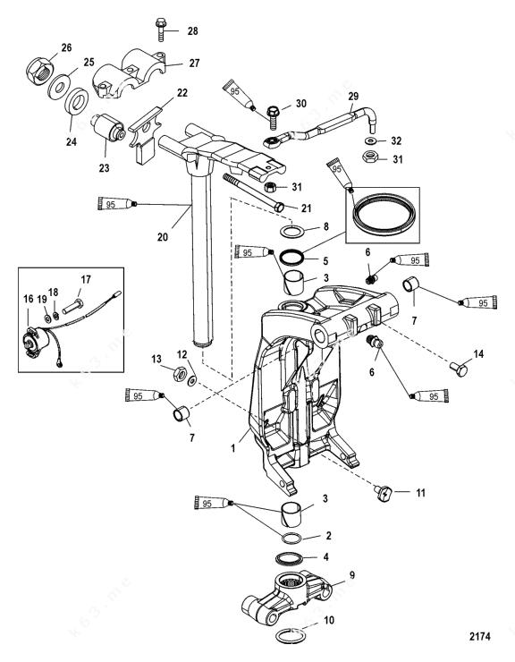 Mercury/Mariner 200 3.0l EFI, Swivel Bracket and Steering