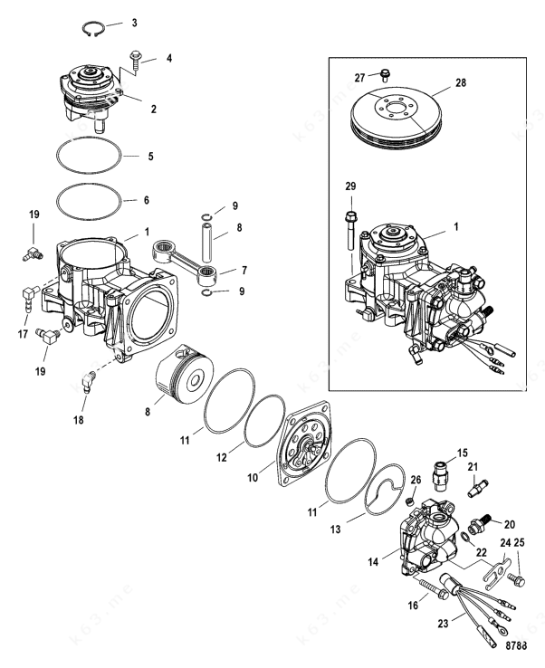 Mercury/Mariner 225 DFI 3.0l, Air Compressor Components