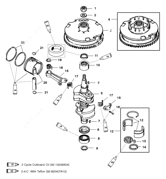 Mercury/Mariner 30 2 Cyl., Crankshaft/Piston/Flywheel