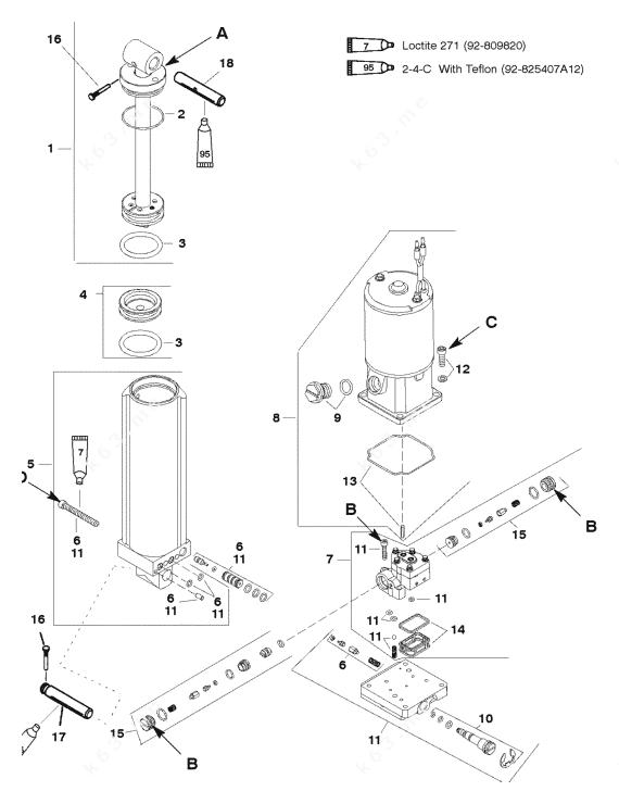 Mercury/Mariner 40 4 Cyl., Power Trim Components S/N