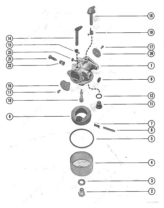 Mercury/Mariner 40, 4 Gnat 2 Cyl., Carburetor Assembly