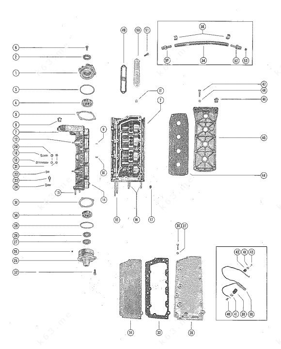 Mercury/Mariner 400, Cylinder Block and Crankcase Assembly
